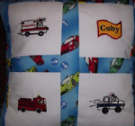 PERSONALISED EMBROIDERED CUSHION WITH AN EMERGENCY VEHICLE THEME - (Fire Engine, Police Car and Ambulance)